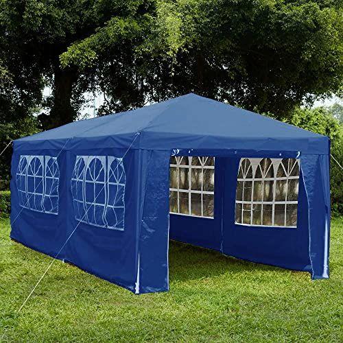 Garden Vida Pawilon z bocznymi panelami 3 x 6 m markiza z zamkiem błyskawicznym namiot imprezowy na zewnątrz ogród zadaszenie wodoodporny z wiatrakami, niebieski