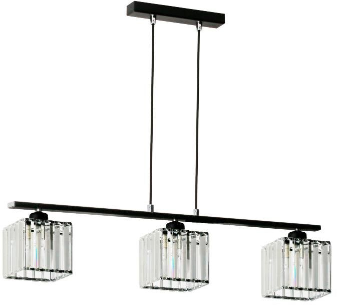 Lampex Andrea 3 911/3 lampa wisząca czarna nowoczesna metal szkło klosz przeźroczysty E27 3x 60W 73cm