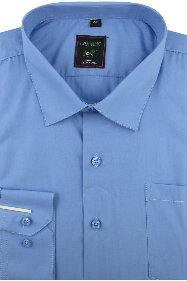 Koszula Męska Elegancka Wizytowa Biznesowa do garnituru Laviino gładka niebieska z długim rękawem w kroju REGULAR A176