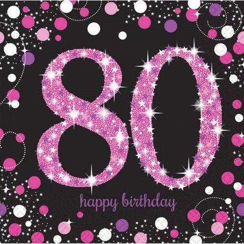Serwetki na 80 urodziny różowe Sparkling Celebration