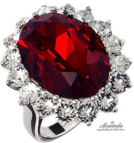 SWAROVSKI piękny pierścionek ROYAL RED SREBRO