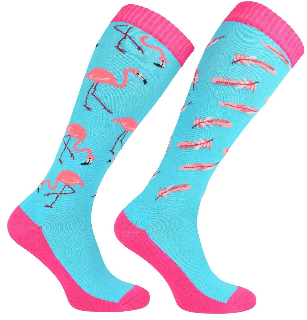 Bawełniane Kolorowe PODKOLANÓWKI jeździeckie - Blue Flamingo SJBW