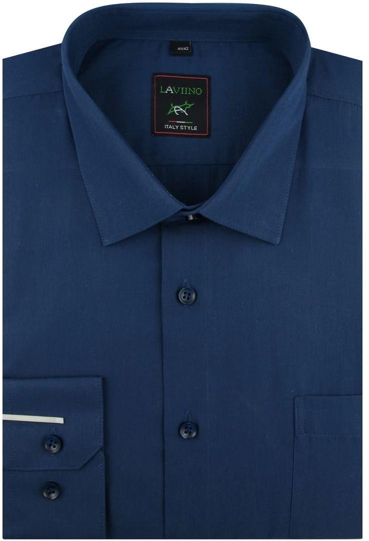 Koszula Męska Elegancka Wizytowa Biznesowa do garnituru Laviino gładka granatowa z długim rękawem w kroju REGULAR A177