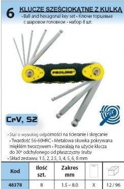 Zestaw kluczy imbusowych 1,5-8mm 8 sztuk PROLINE 48378