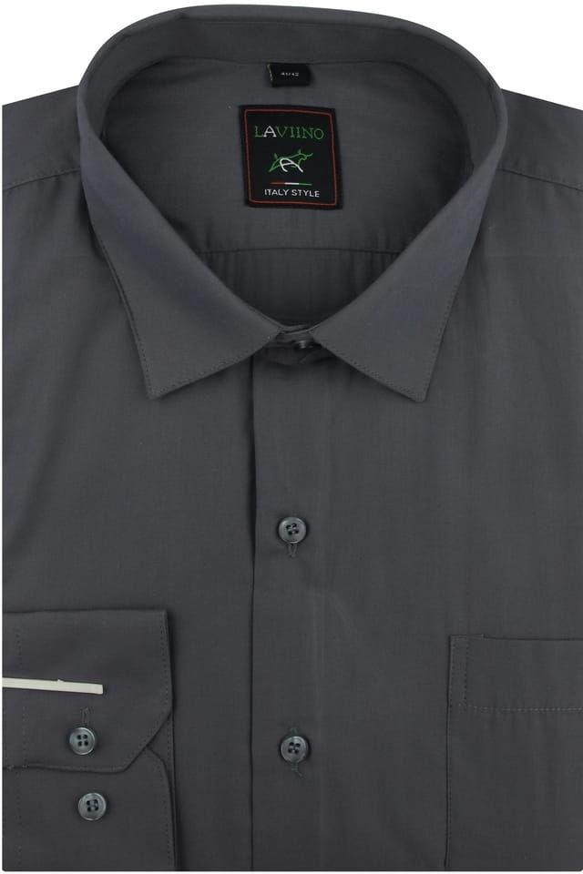 Koszula Męska Elegancka Wizytowa Biznesowa do garnituru Laviino gładka grafitowa z długim rękawem w kroju REGULAR A178