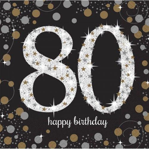 Serwetki na 80 urodziny złote&srebrne Sparkling Celebration
