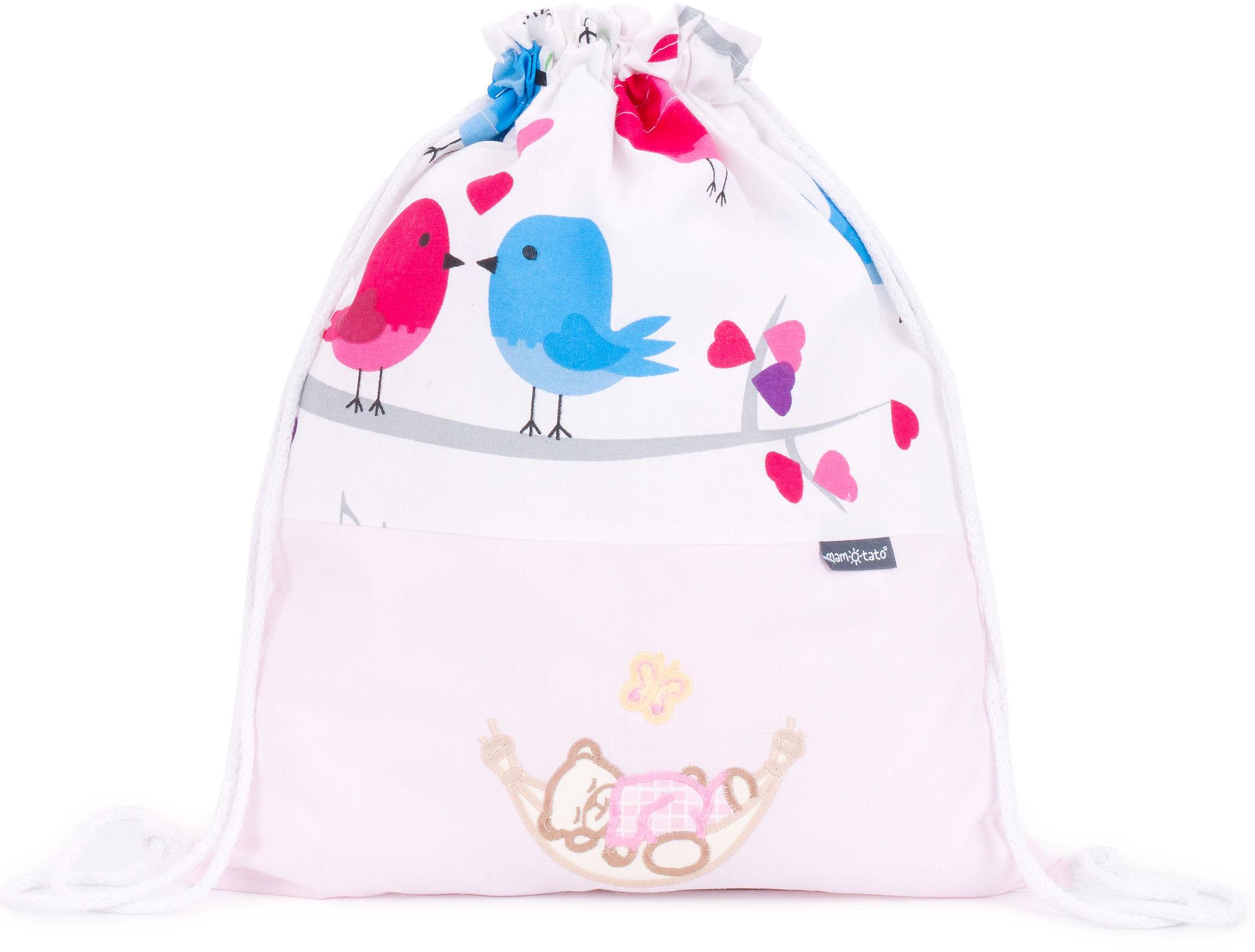 Plecak / worek bawełniany dla dzieci - Ptaszki na bieli / śpioch w hamaku w różu