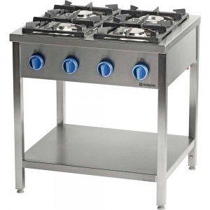 Kuchnia gazowa wolnostojąca 4-palnikowa z półką 24 kW G30 Stalgast 979533
