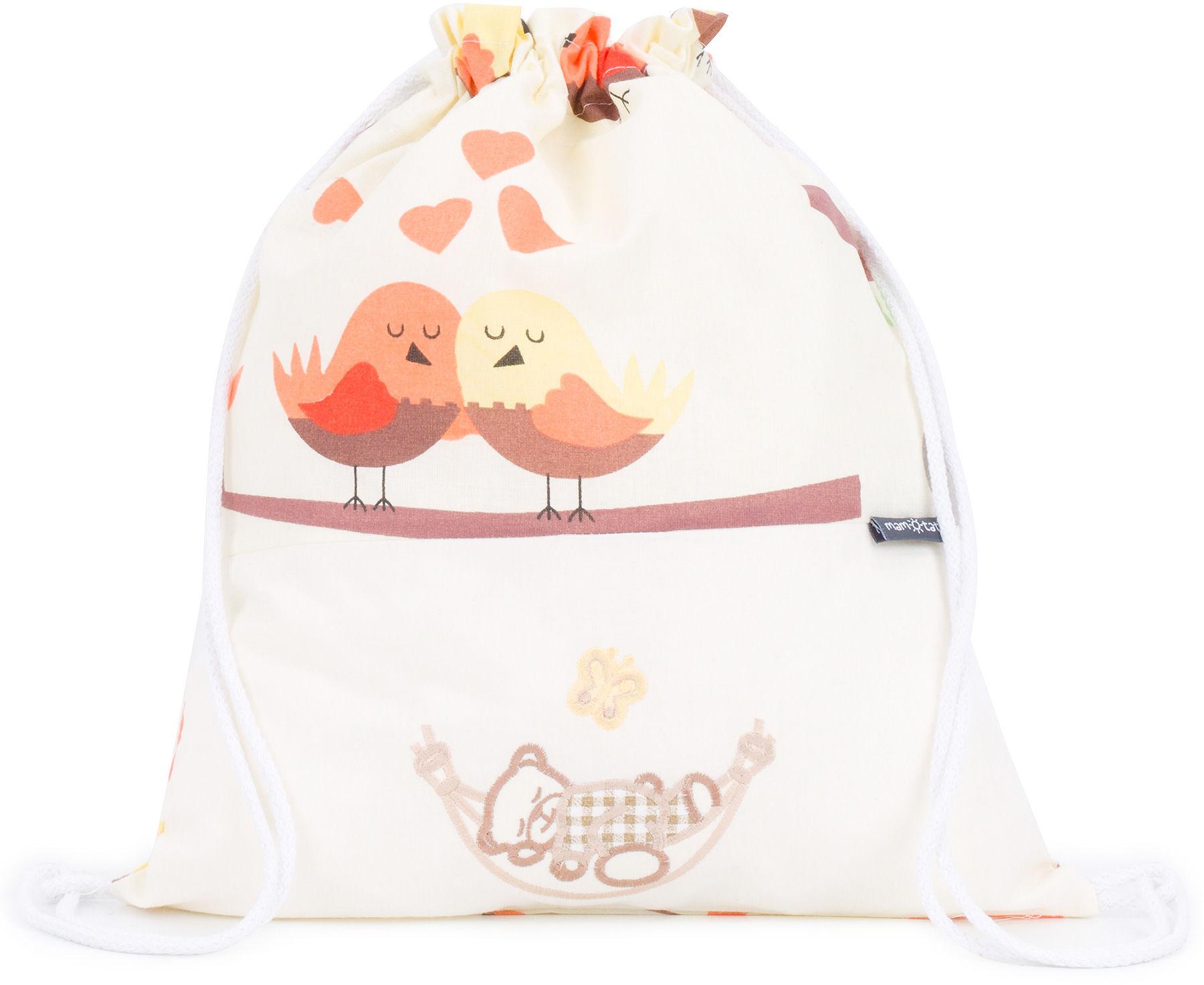Plecak / worek bawełniany dla dzieci Ptaszki kremowe / śpioch w hamaku ecru