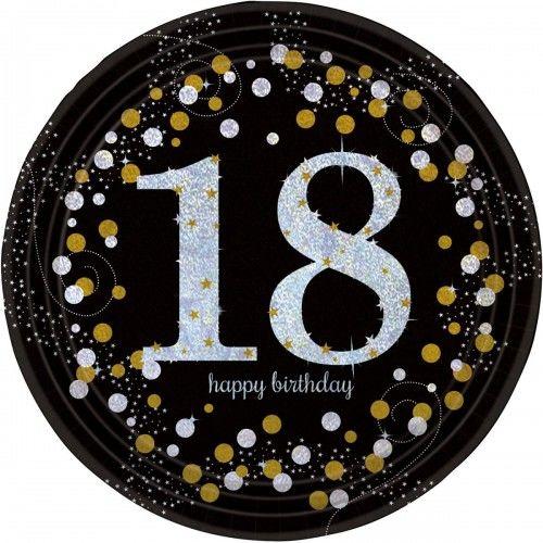 Talerze na 18 urodziny złote&srebrne Sparkling Celebration