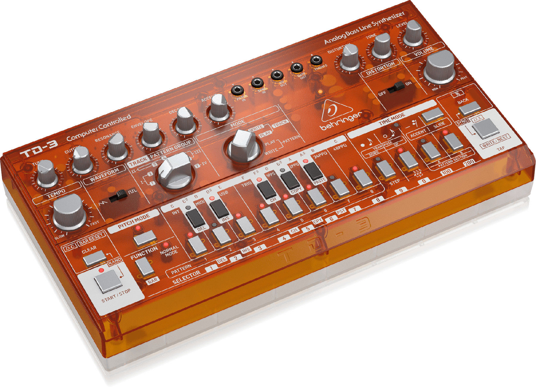 Behringer TD-3-TG - analogowy syntezator linii basowych, POMARAŃCZOWY