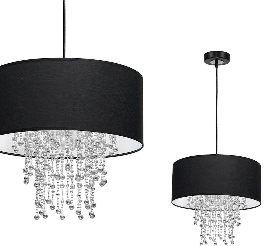 Milagro Almeria MLP6431 lampa wisząca czarny abażur kryształowe sznurki 1x60W E27 35cm