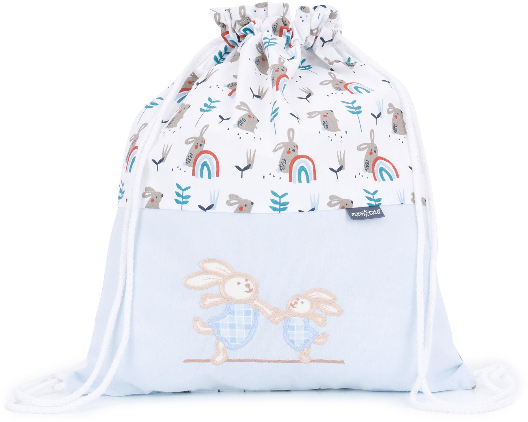Plecak / worek bawełniany dla dzieci Kic kic / wesołe zajączki w błękicie