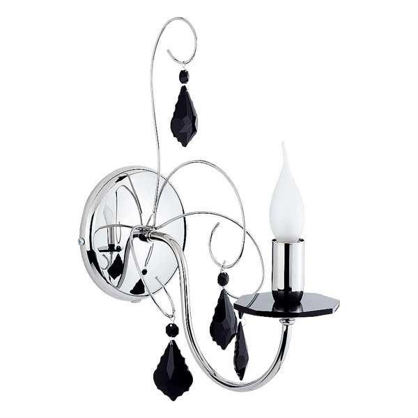 Kinkiet kryształowy nowoczesny PALMIRA czarny/chrom