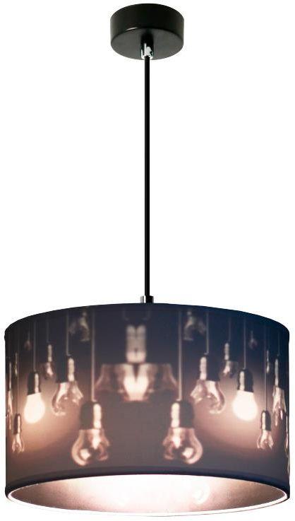 Lampex Izyda 1 913/1 lampa wisząca biały materiałowy abażur zmiana koloru czerń biel E27 1x60W 35cm