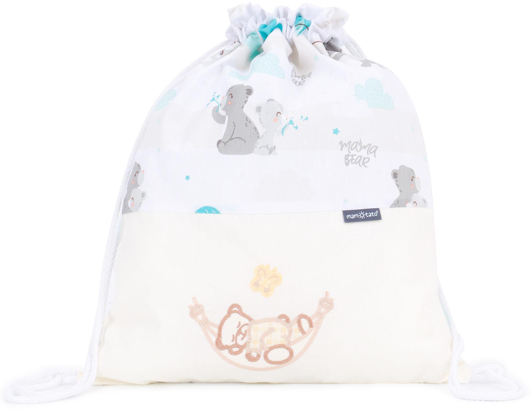 Plecak / worek bawełniany dla dzieci Niedźwiadki z morskim / śpioch w hamaku ecru