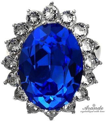 SWAROVSKI piękny pierścionek ROYAL BLUE SREBRO