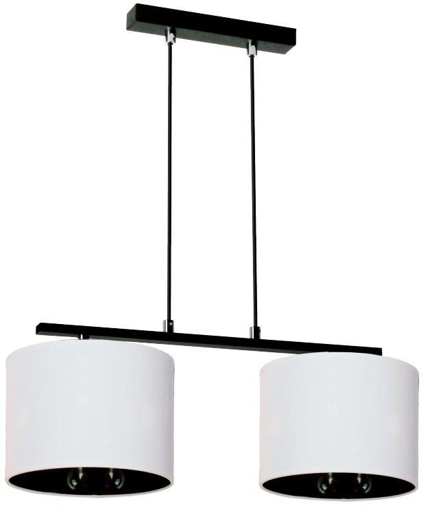 Lampex Izyda 2 913/2 lampa wisząca biały materiałowy abażur zmiana koloru czerń biel E27 2x60W 95cm