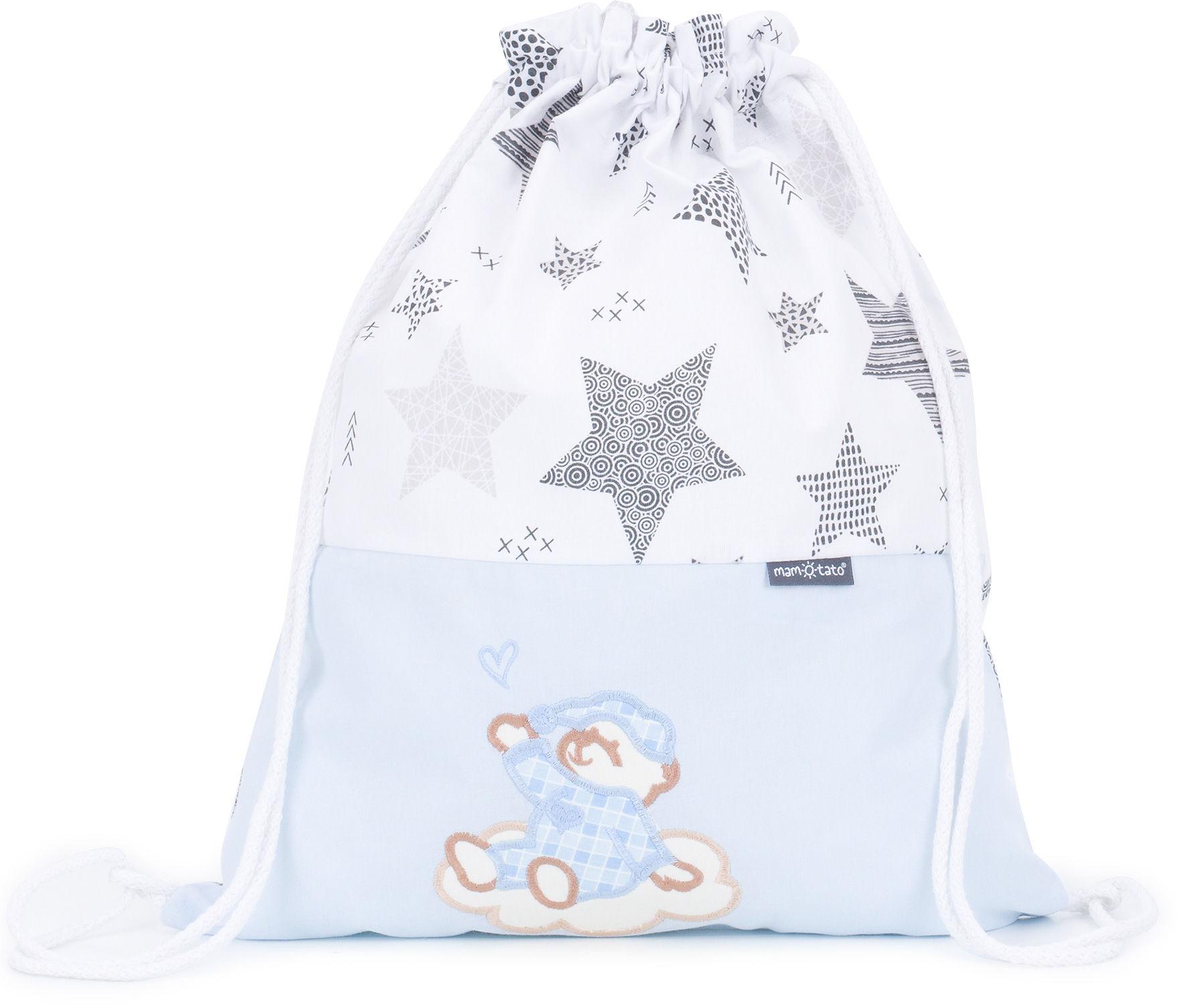 Plecak / worek bawełniany dla dzieci Starmix szary / śpioch na chmurce błękit