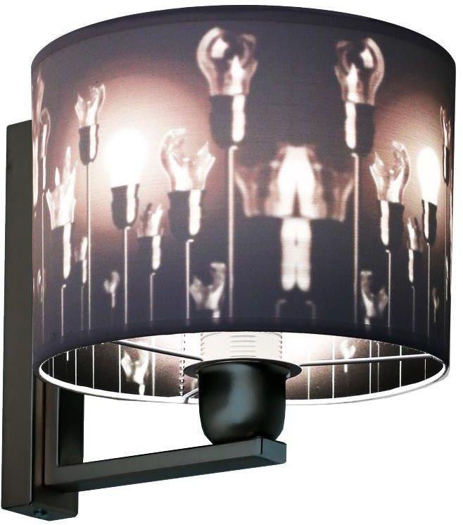 Lampex Izyda 913/K kinkiet lampa ścienna biały materiałowy abażur zmiana koloru czerń E27 1x60W 20cm