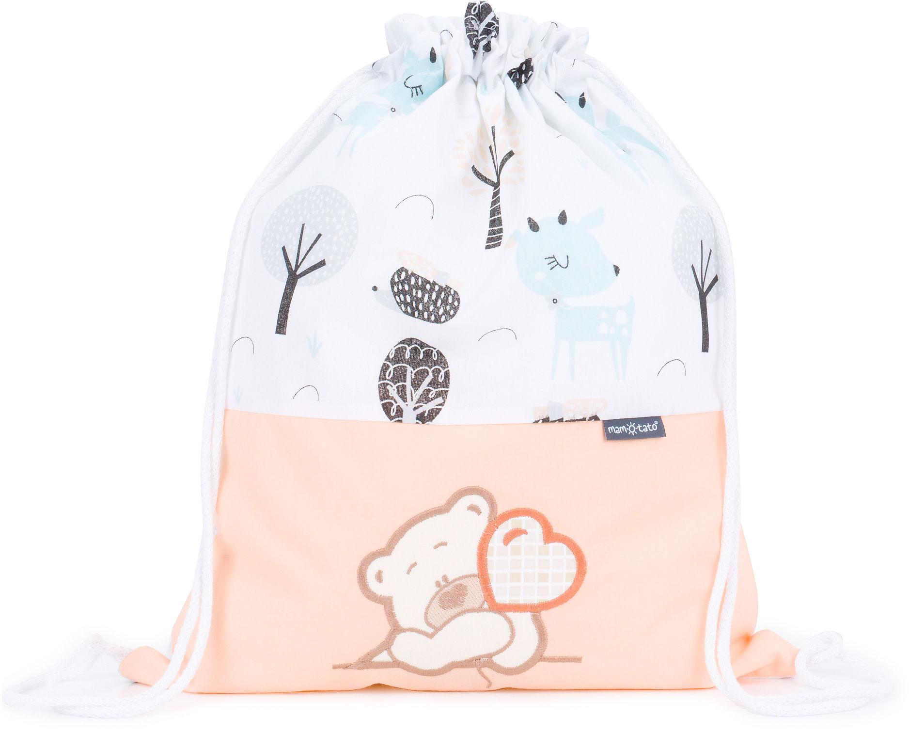 Plecak / worek bawełniany dla dzieci Jelonki turkus / mis z serduszkiem brzoskwiniowy