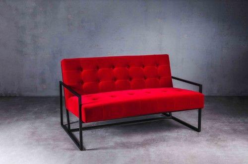 Sofa 2 os. Krabi aksamitna czerwień, czarna podstawa