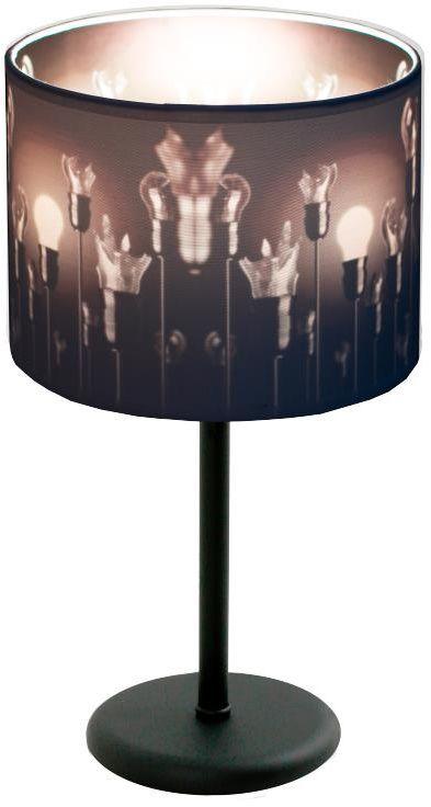 Lampex Izyda 913/LM lampa stołowa biały materiałowy abażur zmiana koloru czerń biel E27 1x60W 38cm