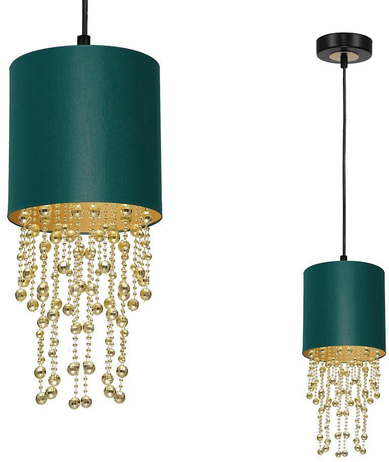 Milagro ALMERIA GREEN/GOLD MLP6449 lampa wisząca abażur zielony kryształowe sznurki 1xE27 23cm
