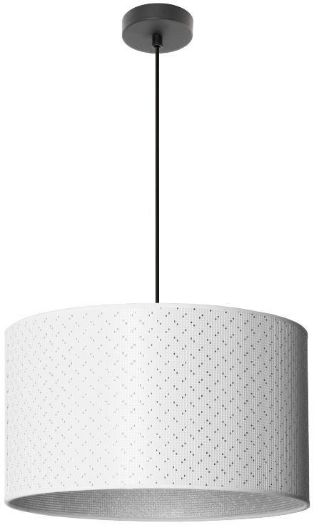 Lampex Heos 1 915/1 lampa wisząca abażur tkanina biel ze srebrną nitką na zewnątrz i srebrny wewnątrz E27 1x60W 95cm