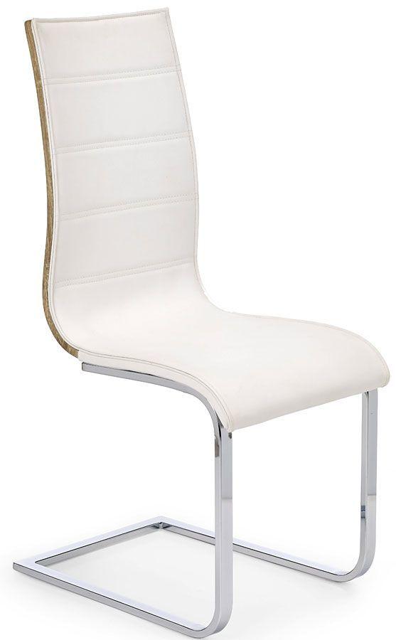 Krzesło metalowe Baster - białe + dąb sonoma
