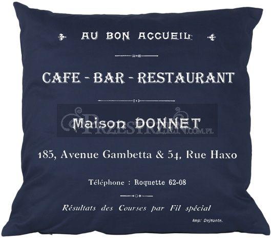 PODUSZKA OZDOBNA FRENCH HOME - CAFE BAR BLUE