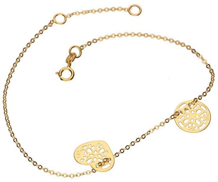 Złota bransoletka 333 celebrytka koło serce ażur 0,60 g