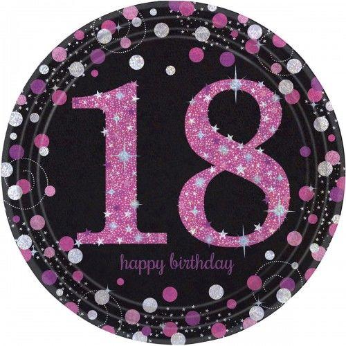 Talerze na 18 urodziny różowe Sparkling Celebration