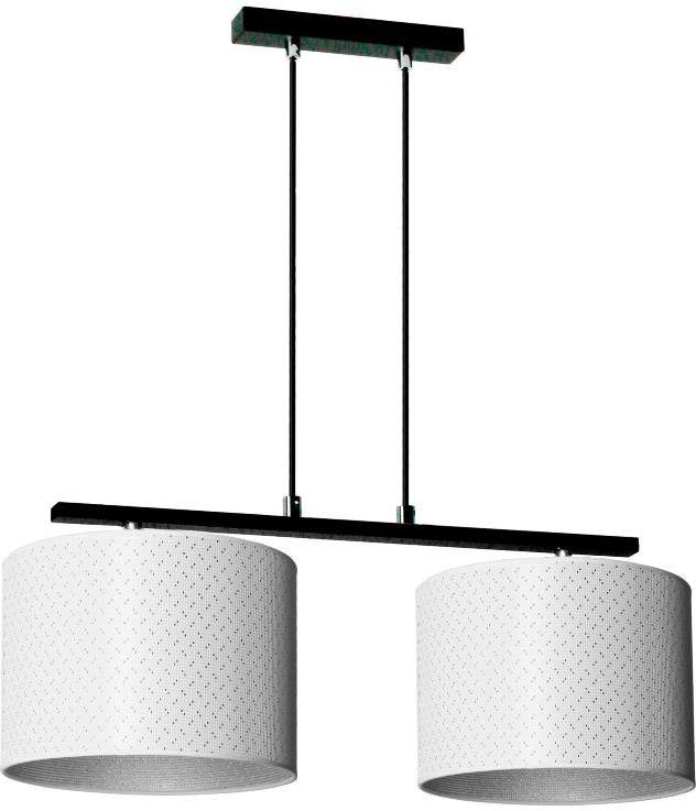Lampex Heos 2 915/2 lampa wisząca nowoczesna abażur tkanina biel ze srebrną nitką na zewnątrz i srebrny wewnątrz E27 2x60W 95cm