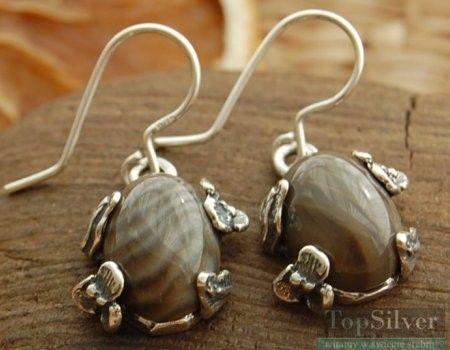 Chieti - srebrne kolczyki z krzemieniem pasiastym