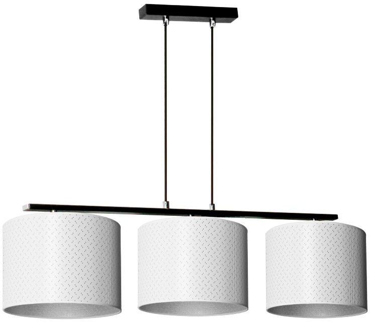 Lampex Heos 3 915/3 lampa wisząca nowoczesna abażur tkanina biel ze srebrną nitką na zewnątrz i srebrny wewnątrz E27 3x60W 81cm