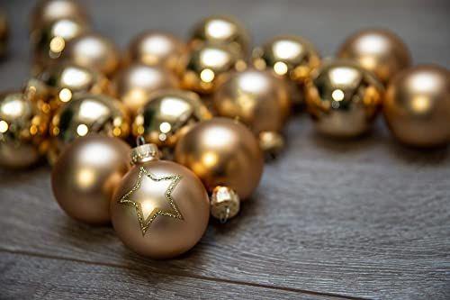 KREBS & SOHN Zestaw bombek choinkowych ze szkła 5,7 cm  ozdoby choinkowe bombki choinkowe dekoracja bożonarodzeniowa  20-częściowy, złoty, gwiazdy