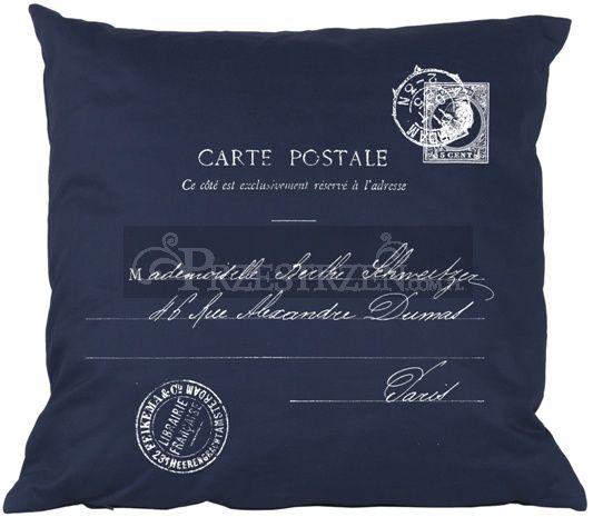 PODUSZKA OZDOBNA FRENCH HOME - CARTE POSTALE BLUE