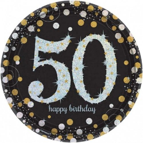 Talerze na 50 urodziny złote&srebrne Sparkling Celebration