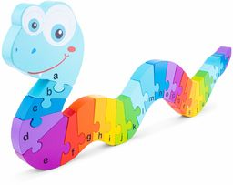 New Classic Toys Alfabet puzzle wąż edukacyjne drewniane zabawki dla 3-letniego chłopca i dziewczynki małe dzieci uczą się alfabetu
