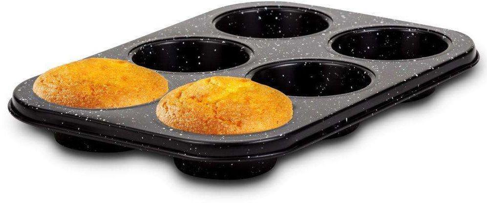 Forma do pieczenia muffinek, na muffinki, babeczki, granitowa, NATURE, blacha, na 6 szt, 26,5x18,5 cm