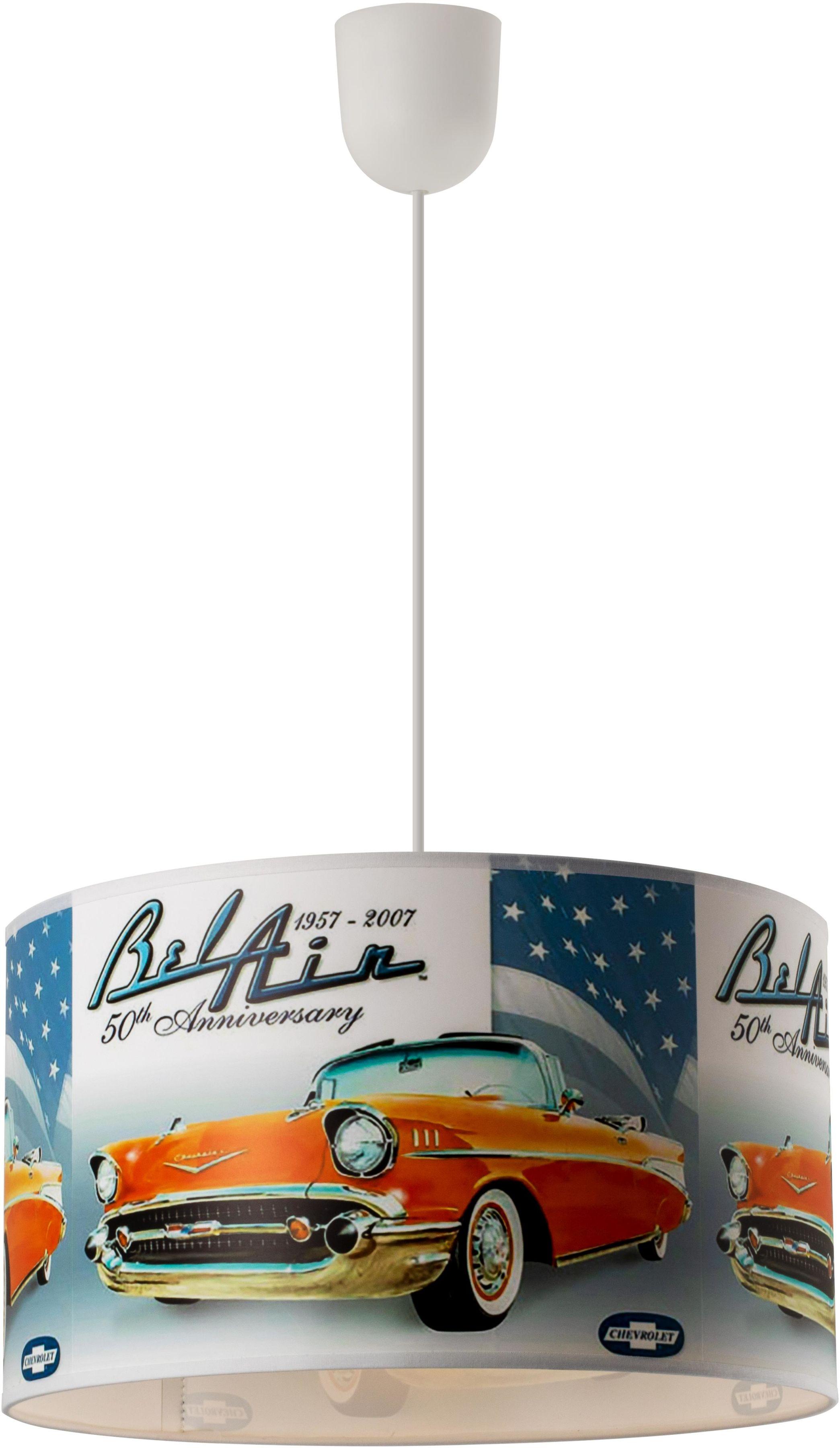 Lampex Bel Air 977/A lampa wisząca klosz kolorowy motyw stylowych samochodów E27 1 60W 35cm