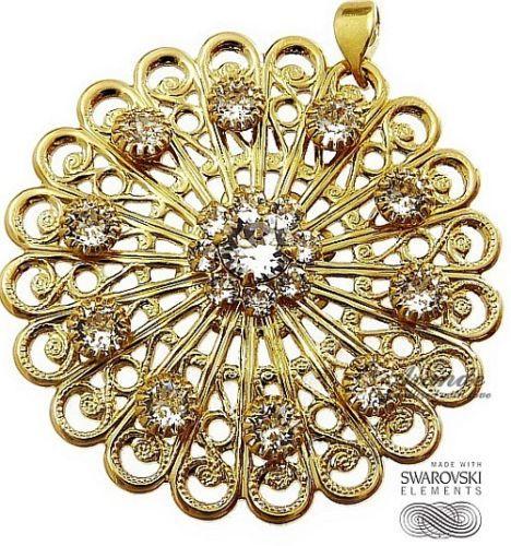 Kryształy piękny wisiorek *CRYSTAL DELLA GOLD* łancuszek ZŁOTE SREBRO