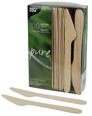 """Papstar Nóż do drewna / nóż jednorazowy """"pure"""" (100 sztuk) długość 16,5 cm z naturalnie jasnego drewna brzozowego, niewybielany, na imprezy przy grillu lub urodziny, biodegradowalny, #18200"""