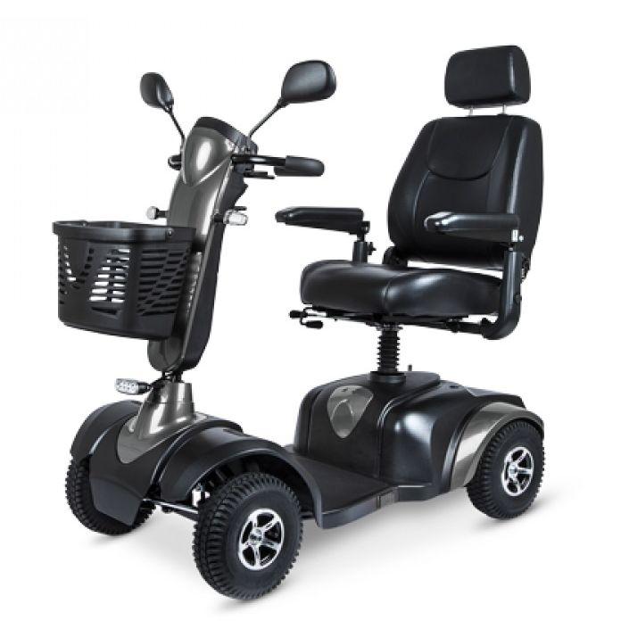 Wózek inwalidzki drogowy o napędzie elektrycznym z amortyzowanym systemem siedziska - wytrzymała rama, mocny silnik - możliwość pokonywania trudnych t