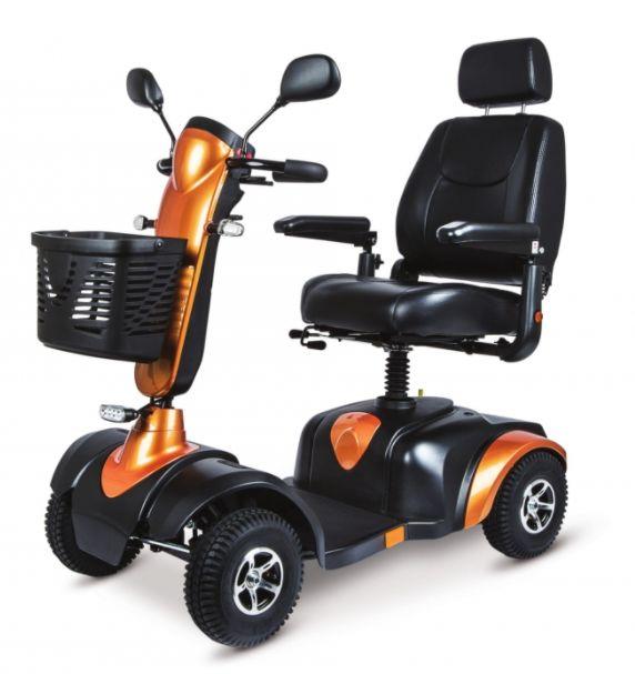 Wózek inwalidzki - skuter elektryczny ułatwiający poruszanie w terenie - prosty w obsłudze panel sterujący, komfortowe siedzisko + oświetlenie + klaks