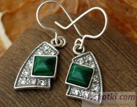 Flos - srebrne kolczyki z malachitem i kryształkami