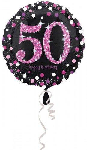 Balon na 50 urodziny różowy Sparkling Celebration