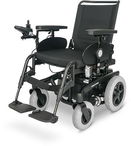 Elektryczny wózek inwalidzki do użytku wewnątrz pomieszczeń i na zewnątrz - duży zakres regulacji, wygodne siedzisko + oświetlenie (Meyra ICHAIR BASI