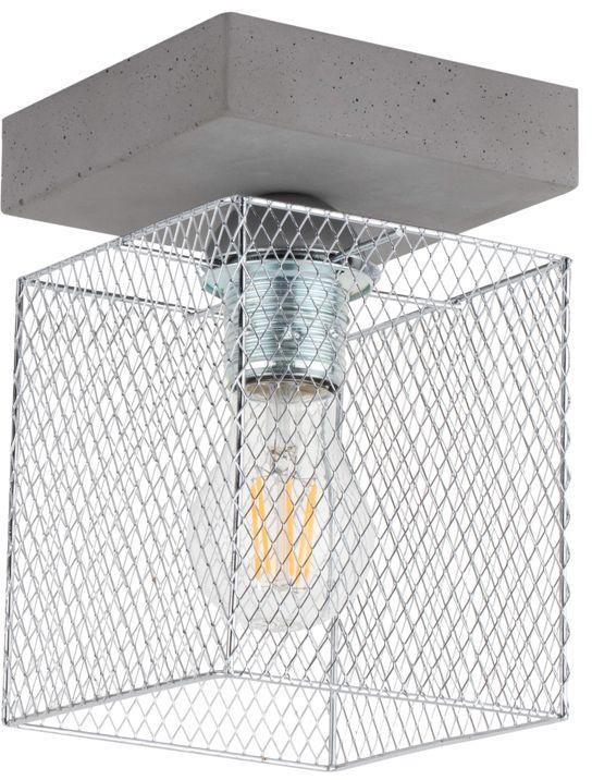Spot Light 8172136 Gittan plafon lampa sufitowa beton szary klosz metalowy chrom prostokątny 1xE27 60W 21cm